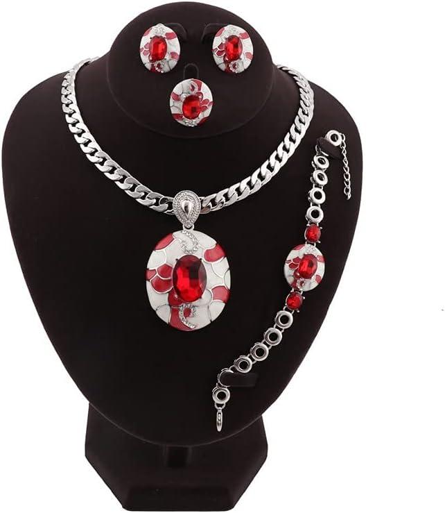 Jiahezi Dubai Gold Color Crystal Enameled Jewelry Sets,Nigerian Wedding Costume Necklace Earring (Color : Color 2)