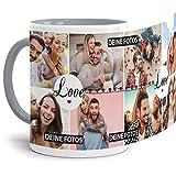 Tasse mit Spruch Love zum SELBSTGESTALTEN mit Foto-Collage für 8 WUNSCHFOTOS - Fototasse personalisiert - Persönliche Geschenkidee für Freunde und Familie - Innen & Henkel Grau