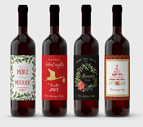 Product Image of the Set of 4 Wine Labels, Christmas Pregnancy Announcement, Variety Pack, Pregnancy...