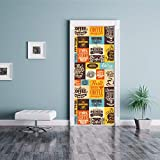 MSSDEBZ 3D Türaufkleber Wandbild Türtapete Selbstklebend Kaffeetasse-Geschäfts- Dekorations-Tor Für Hauptwohnzimmer-90x200cm/36x80In