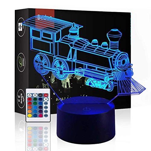 Bedoo LED Night Light Magic Choochoo Train 3D Illusion, 16 Color Changing Dimmable Lighting, Smart Toy Lamp USB Charge Table Indoor Decoration, with Remote Control