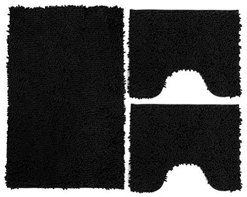 Juego de alfombrillas de baño de 3 piezas de microfibra, alfombra de pelo largo 50 x 80 cm, 2 alfombrillas para inodoro y agua, forma rectangular 40 x 50 cm, suave, antideslizante (negro)