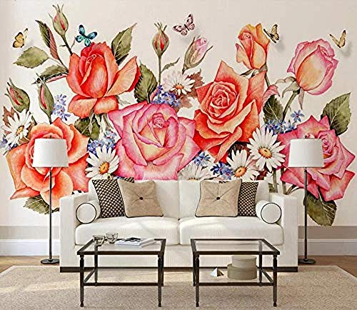 Murales de pared con flores rosas dibujadas a mano Pared Pintado Papel tapiz 3D Decoración dormitorio Fotomural de estar sala sofá mural-430cm×300cm