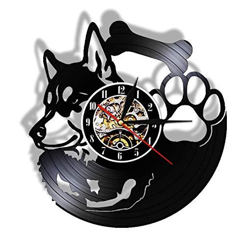 LIMN Reloj Regalo Reloj de Pared con Disco de Vinilo Husky Siberiano Sin tictac Tienda de Mascotas Decoración de Arte Vintage Reloj Colgante Raza de Perro Husky Perro Propietario Idea de Regalo