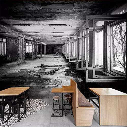 3d behang wandschilderij vliesstof aangepaste 3D fotobehang creatieve ruimte zwart en wit fabriek gebouw graffiti kunst wandschilderij restaurant café muur decoratie 400 x 280 cm.