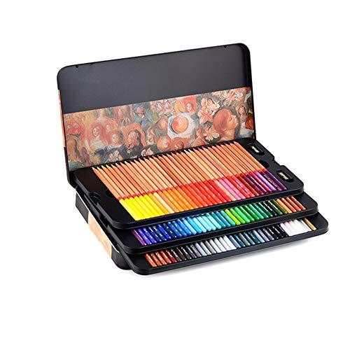 Kleurpotloden BLTLYX 24/36/48/72/100 Professionele vette kleurpotloden voor gekleurde tekenpotloden Set Art Supplies Potlood 7 inch IJzeren doos 100 kleuren