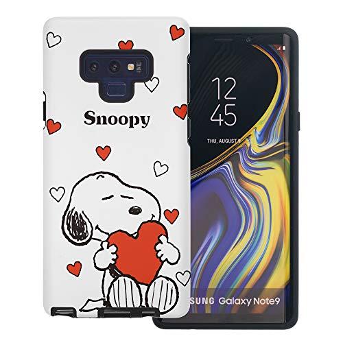 Galaxy Note9 ケース と互換性があります Peanuts Snoopy ピーナッツ スヌーピー ダブル バンパー ケース デュアルレイヤー 【 ギャラクシー ノート9 ケース 】 (スヌーピー 大きな愛 白) [並行輸入品]