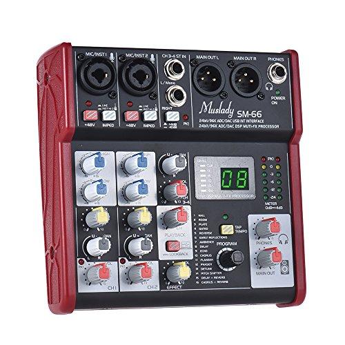 Muslady SM-66 Mischpulte Tragbar 4-Kanal Klingen Karte Eingebaut 16 Effekte mit USB Audio Schnittstelle Unterstützt 5V Leistung zum Aufzeichnung DJ Netzwerk Live-Übertragung Karaoke