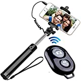 King Shine Compact Wired Monopod Extendable Selfie Stick with AUX Wire Built-in Remote