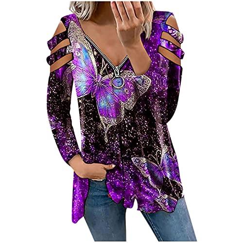 Blusa elegante de manga larga con hombros descubiertos, túnica con cremallera frontal, cuello en V, estampado floral, suelta, básica, para niñas y mujeres., morado, XL