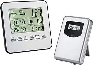 ACAMPTAR EstacióN MeteorolóGica Mejorada,HigróMetro TermóMetro para Interiores Y Exteriores Digital InaláMbrico,Sensor Remoto,EstacióN MeteorolóGica para Hogar,Humedad,Reloj Despertador