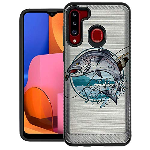 CasesOnDeck Hybrid Case Compatible with [Samsung Galaxy A21 / A21 Case] [Brushed Armor] Slim Fitted Shock Combat Cover -Bass Fishing