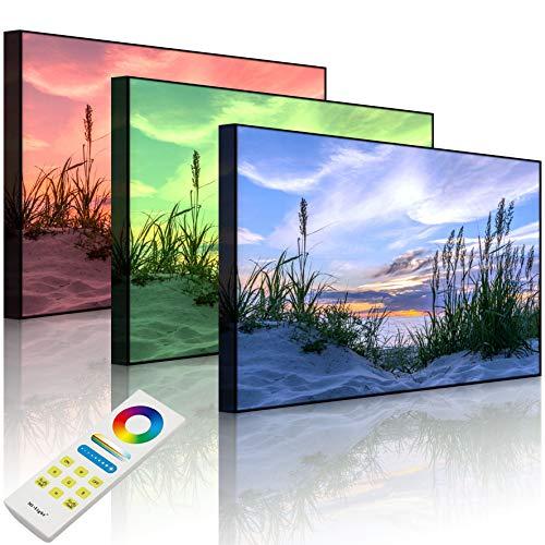 Lightbox-Multicolor | LED Bild Leuchtbild | Gras am Strand bei Sonnenuntergang | 80x60 cm | Front Lighted