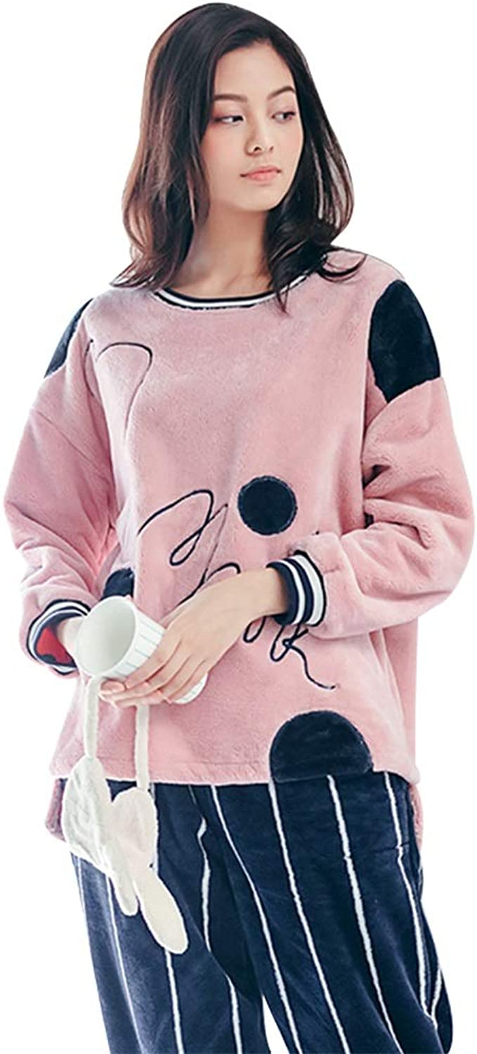 Winter Female Coral Velvet Pajamas Sweet Cute Striped Pants Flannel Home Dressing Trendy Black and White Stripes Handwritten Letter Embroidery (color   Purple, Size   XL)