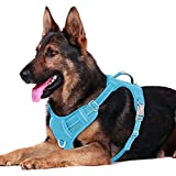 BARKBAY No Pull Dog Harness Front Clip Heavy Duty Reflective Easy Control Handle for Large Dog Walking with ID tag Pocket(Grey,XL)
