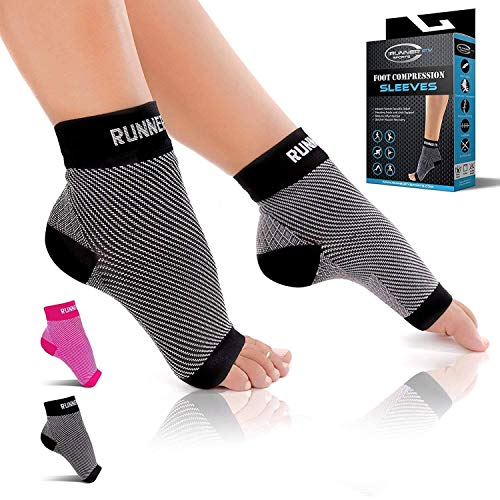 Runner FX Sports Nano Socks for Women Neuropathy - Nano Socks for Men Neuropathy - Plantar Fasciitis Socks with Arch Support, Ankle Compression Foot Sleeve, Nano socks for Neuropathy, Pain Relief