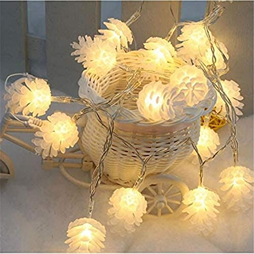 BOFYCW Solar Pinecone String Lights, Outdoor Waterproof 8 Modes Decorative Garden Light for Halloween Patio Wedding Festive Decorations(Warm White),20LED