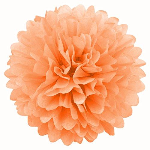 Simplydeko Pompoms 3er Set | Deko Pom-Poms aus Papier | Papierkugel zur Hochzeit oder Party | Papierblumen als Hochzeitsdeko | Seidenpapier Pompons | Pfirsich-Orange | 30 cm