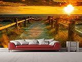 Fotomural Vinilo para Pared Atardecer en la Playa | Fotomural para Paredes | Mural | Vinilo Decorativo | Varias Medidas 200 x 150 cm | Decoración comedores, Salones, Habitaciones.
