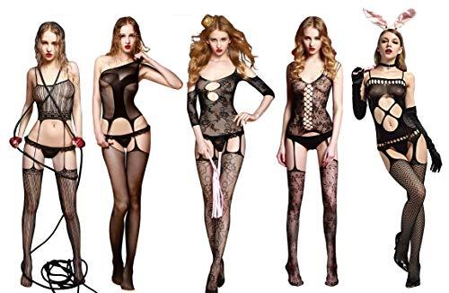 Intim Secret Pack 5 Body Dessous, Sexy Dessous, Spitze, Frauen, Erotische Dessous, One Piece Body, Damenunterwäsche für Valentinstag, Weihnachten, Schlaf, Feiertage, Bachelorette usw.Schwarz