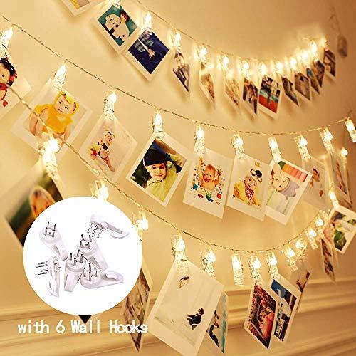 Tasodin Led Photo Clip String Lights - 20 LEDs Battery Operated Fairy String Lights 6.56 Feet, 2 Pack, Warm White