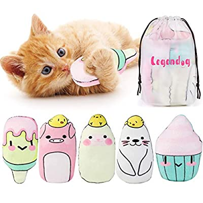 Legendog Catnip Toys, 5Pcs Pillows Cat Toys with Catnip Cat Toys for Indoor Cats with Adorable Animal Face Safe Cosmic Catnip Toy Cat Teething Chew Toy