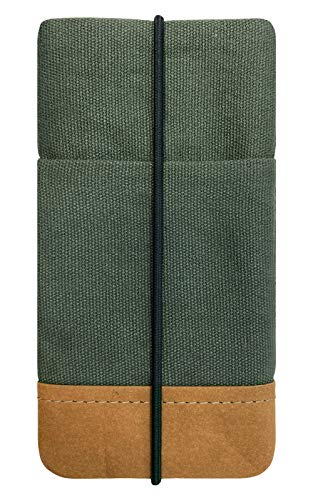 Kuratist Handytasche – Kompatibel mit iPhone 12/12 Pro & Max/11/11 Pro Max/XS Max/XR, Galaxy A51/S20+/S10+ - Handgemacht aus Premium Baumwolle und Papier-Latex - 100% vegan – Uni Pine