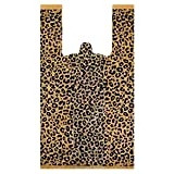 50 Pieces Leopard Print Plastic T-Shirt Bags Large Leopard Double-Print Treat Bags with Handles for Grocery Shopping Home Using, 5 Mil and 19 x 35 x 12 cm