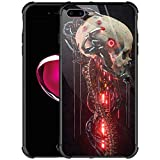 iPhone 8 Plus Case,9H Tempered Glass iPhone 7 Plus Cases for Girls Women Boys,Skull Robot Cool Pattern Design Shockproof Anti-Scratch Glass Case for Apple iPhone 7/8 Plus