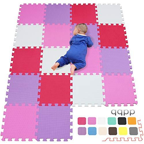 qqpp Eva Puzzlematte✔Kinderspielteppich✔Schaumstoffmatte✔Spielmatte Baby✔Spielteppich✔18 TLG.(30*30*1cm),Weiß,Pink,Rot,Lila.QQC-ACIKb18N