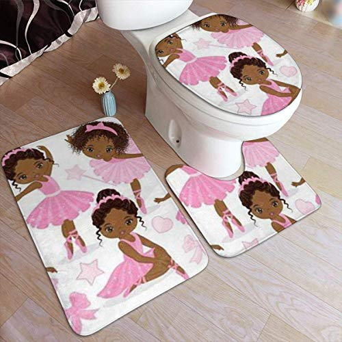BLSYP Stützteller Vector Ballerina Clipart Bathroom Rug Mats Set 3 Piece Anti-Skid Pads Bath Mat+Contour+Toilet Lid Cover Bathroom Antiskid Pad
