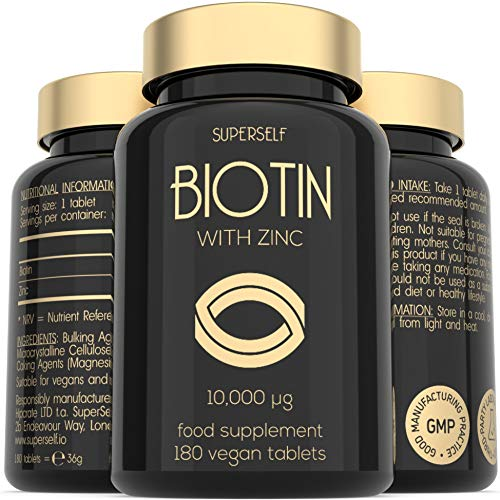 High Strength Biotin Tablets with Zinc - 10000mcg Biotin Tablets for Hair Nails & Skin - One Year Supply 180 Capsules 10 000mcg - UK Made & Vegan - Natural Supplement B7 Vitamins for Men and Women