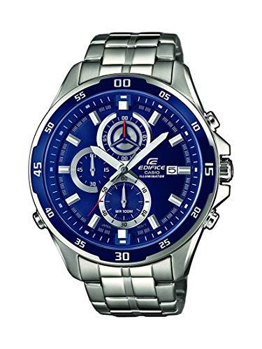Casio EDIFICE Reloj en caja sólida, 10 BAR, Azul, para Hombre, con Correa de Acero inoxidable, EFR-547D-2AVUEF