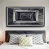 nr Retro Abstracto Lienzo geométrico Abstracto Decorativo Carteles Imprimir Arte de la Pared Fotos Sala de Estar decoración de la Oficina en casa60x120cm sin Marco