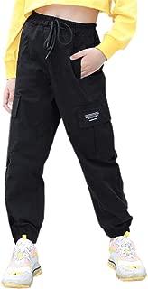 SANGTREE Girls' Elastic Waist Cargo Jogger Pants, 3-12 Years