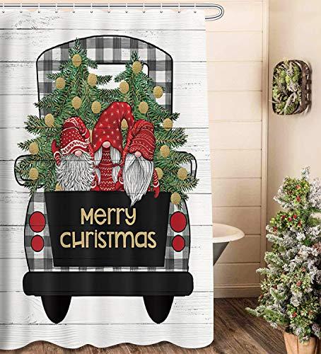 NYMB Duschvorhang mit Weihnachtselfen-Motiv, süßer Zwerg Schneemann Weihnachtsbaum Glöckchen mit schwarz-weißem Büffelbauernhaus auf rustikalem Holz Duschvorhang Badezimmer Dekor (175,3 cm x 70 cm)