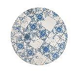 H&H Lotus Set 12 Piatti Fondi, Stoneware, decoro effetto piastrelle vintage, 21.5 cm