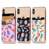 (Three) Stretchy Cell Phone Stick on Wallet Card Holder Phone Pocket for iPhone, Android and All Smartphones (Pineapples)