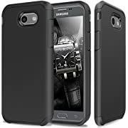 TJS Case Compatible for Samsung Galaxy J7 Sky Pro/Galaxy J7 Perx/Galaxy J7 V/Galaxy Halo/Galaxy J7 Prime, Dual Layer Hybrid Shockproof Impact Drop Protection Phone Case Armor Cover (Black)