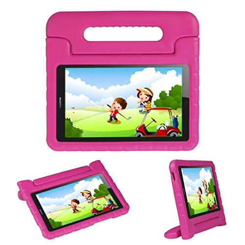 Kids Case Stand for Compatible with Huawei MediaPad T3 8 8-in/Honor Play Pad 2 8-in,I-original Eva Shockproof Protective Carry Handle Lightweight Tablet Holder Cover for Toddlers Children (Magenta)