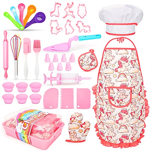 Aoskie Kids Baking Set for Girls with Apron, Cooking Chef Set for Kids, Dress Up Role Play Toys Gift for 3 4 5 6 7 8 Years Old