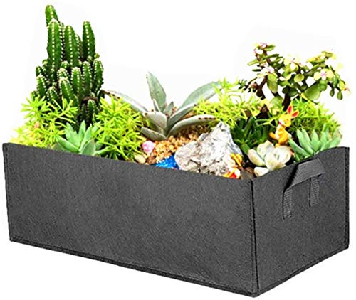 BDFA Rectangle Grow Bag, Square Planting Container with Handle, Outdoor Garden Felt Plant Pot for Flowers Vegetables