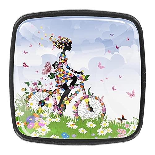 (4 piezas) pomos de cajón para cajones con tiradores de cristal para gabinete, hogar, oficina, armario, flores, bicicleta, niña, pastizales, mariposas, 35 mm