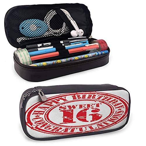 DJNGN 16ème anniversaire maquillage trousse à crayons Vintage caoutchouc timbre à l'ancienne signe de voeux temps vole thème pour les fournitures scolaires et de bureau vermillon blanc