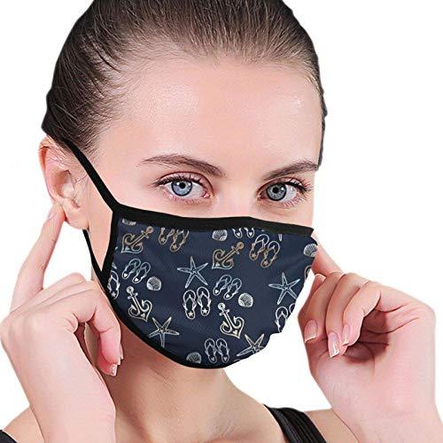 Colorida máscara de playa de estrellas de mar Flipflop para hombres, mujeres, niños, adolescentes, impresión cómoda, lavable, reutilizable, para la nariz