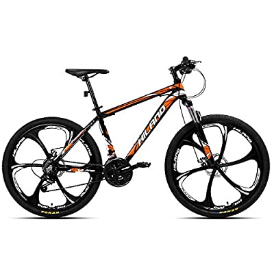 Hiland 26 Inch Mountain Bike Aluminum MTB Bicycle with 17 Inch Frame Kickstand Disc-Brake Suspension Fork Cycling Urban Commuter City Bicycle 6-Spokes Black Orange