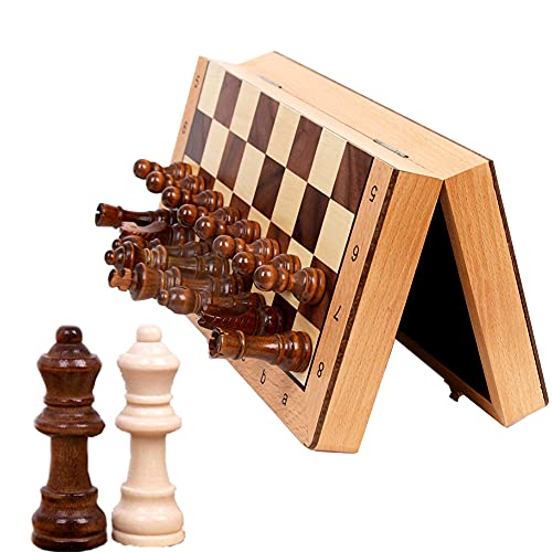 LHYCM Magnetic Wooden Chess Set,Funny Folding Board Game,Travel Chess Set with Storage Slot for Kids and Adults,Including Extra 2 Queens