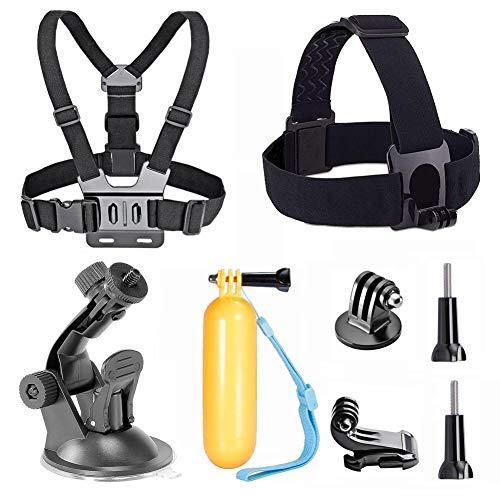 TEKCAM Action Camera Accessory Kits Bundle Head Strap Chest Harness Car Mount Floating Hand Grip Compatible with Gopro Hero 8 7 6/AKASO EK7000 Brave 4 4K/Crosstour/Campark/APEMAN 4k Waterproof Camera