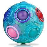 JQGO Magic Rainbow Ball 3D Puzzle Cube, Puzzle Speed Cube Juguete Educativo para niños Puzzle Ball Stress Relief para Adolescentes Adultos, Luminous