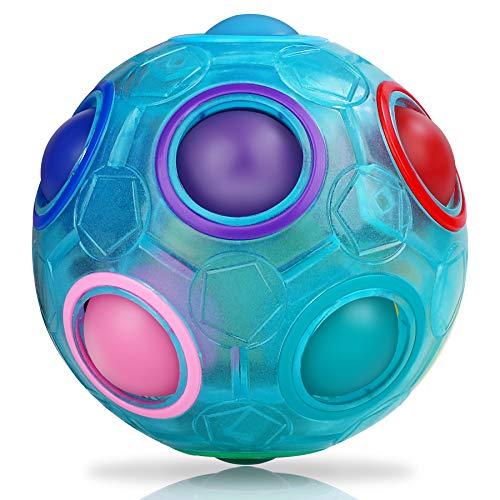 JQGO Magic Rainbow Ball, Palla Magica Arcobaleno Cubo Fidget Giocattolo for Stress Reducer Bambini Adulti, Luminoso